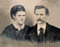 Digitally restored black and white 1800s photo of couple