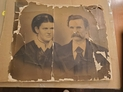 Large image of couple c.1800s crumbling off cloth backing